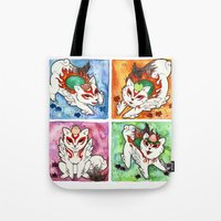 okami Tote Bags featuring Okami Set by Jazmine Phillips