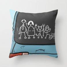 Honest Stick Figure Family Throw Pillow
