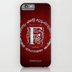 Joshua 24:15 - (Silver on Red) Monogram F Slim Case iPhone 6s