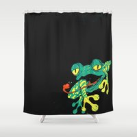 frog Shower Curtains featuring Frog by Linus Nyström