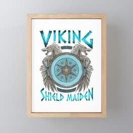 Cute Viking Shield Maiden Female Norse Warrior Framed Mini Art Print
