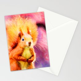 squirrel digital oil paint dopstd Stationery Cards