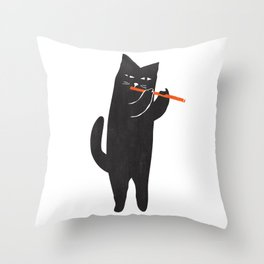 Black cat with flute Throw Pillow