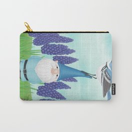 gnome with cerulean warbler and grape hyacinths Carry-All Pouch