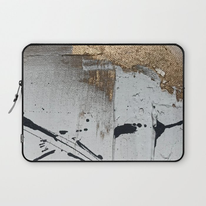 Still: an abstract mixed media piece in black, white, and gold by Alyssa Hamilton Art Laptop Sleeve