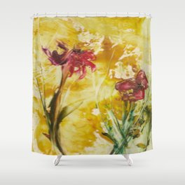Abstract Red Poppies From Original Encaustic Art Shower Curtain
