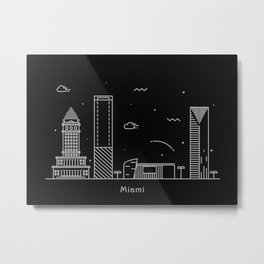 Miami Minimal Nightscape / Skyline Drawing Metal Print