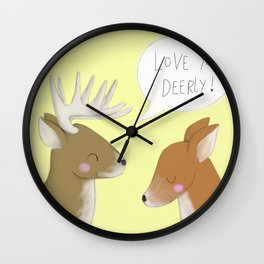 Love You Deerly - Colour Wall Clock