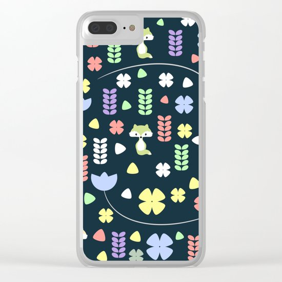 Cute foxes, flowers and more Clear iPhone Case