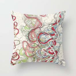 Vintage Map of the Mississippi River Throw Pillow
