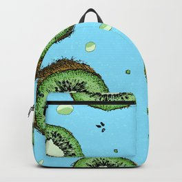 Summer Time Blue Kiwi Pattern with Texture Backpack