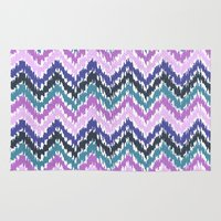 ikat Area & Throw Rugs featuring Ikat Chevron by Noonday Design