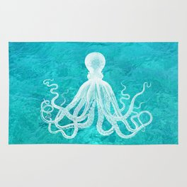 Nautical Decor - Octopus in the Clear Turquoise Water Rug