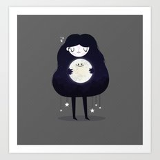 Hug the moon Art Print