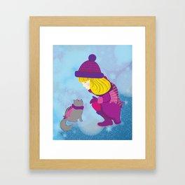 Lara with cat - Christmas Framed Art Print