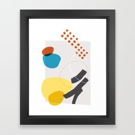 Shape & Hue Series No. 1 – Yellow, Orange & Blue Modern Abstract Framed Art Print