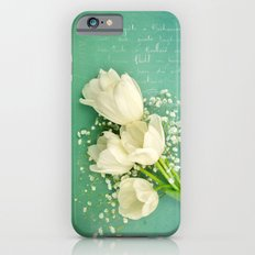 French White Tulips and Baby's Breath Flowers Bouquet Spring Botanical 2015 iPhone 6s Slim Case