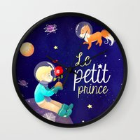le petit prince Wall Clocks featuring Le petit prince by LadyAlouette