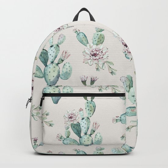 Pretty Cactus Rose Pattern Pale Pink + Green Backpack