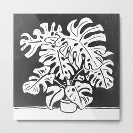 Black and White Monstera Metal Print