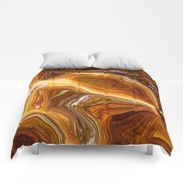 Earth Tones, Digital Fluid Art - Abstract Glowing Light Lines Comforters