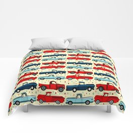 Winter Vintage Trucks Comforters