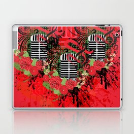 Retro microphone with roses Laptop & iPad Skin