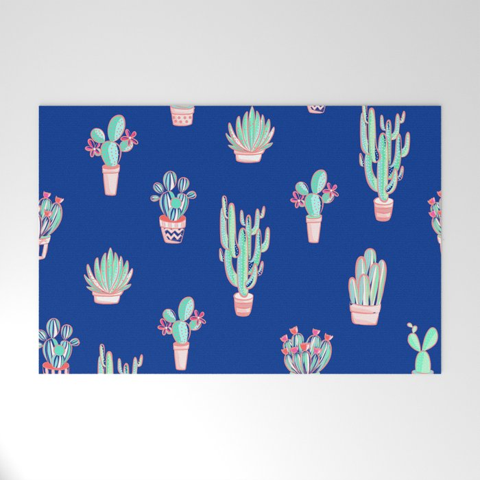 Little cactus pattern - Princess Blue Welcome Mat