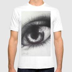 Eye Sketch 2 MEDIUM White Mens Fitted Tee