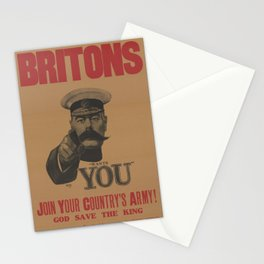 Vintage British First World War Poster - Kitchener Wants You to Join your Country's Army (1914) Stationery Cards
