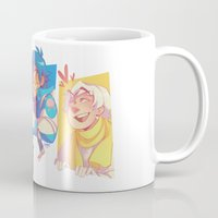dmmd Mugs featuring Blue Baby Robot Nerd Trash Prince by Andy Y.