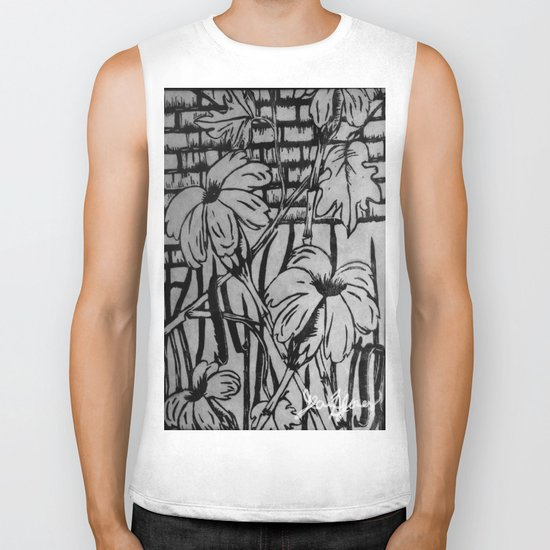 Black and White Palm Flowers by my Mom Biker Tank