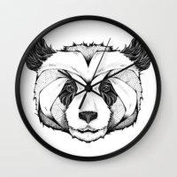 panda Wall Clocks featuring Panda by Andreas Preis