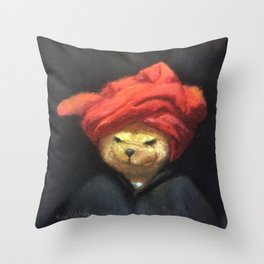 Portrait of Bear in Red Turban Funny Vintage Painting Throw Pillow