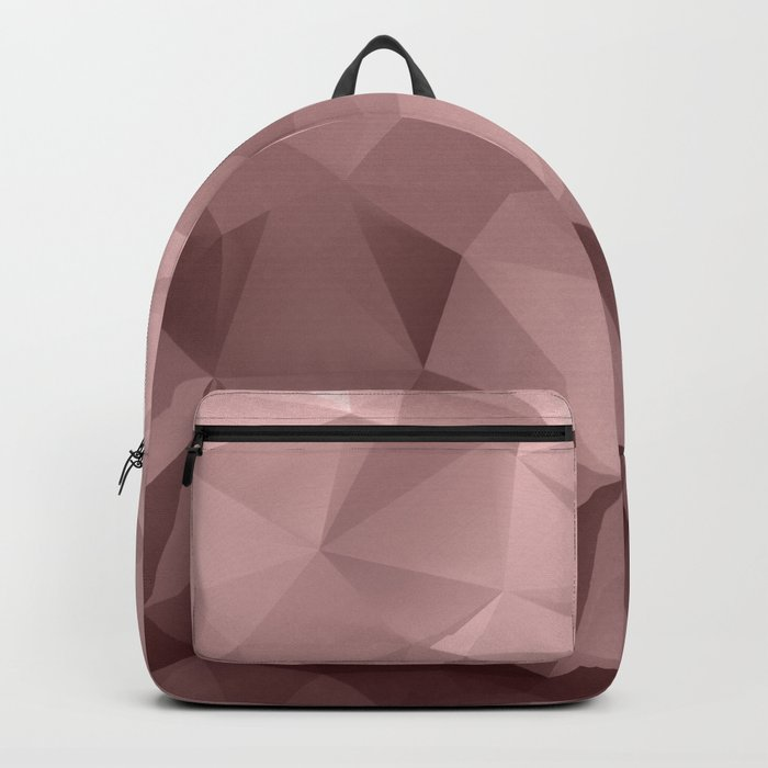 Abstract geometric polygonal pattern in grey and pink tones . Backpack