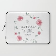 He Restores My Soul. Psalm 23:3, bible verse, watercolor flowers, pink, red, green Laptop Sleeve