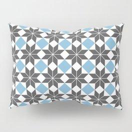 8 Point Star Pattern, Dusk Blue, Charcoal Black Pillow Sham
