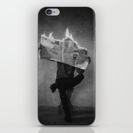 News on Fire (Baclk and White) iPhone Skin