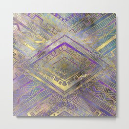 Tribal  Ethnic Boho Pattern gold and gentle purples Metal Print