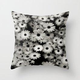 daisy, black & white Throw Pillow