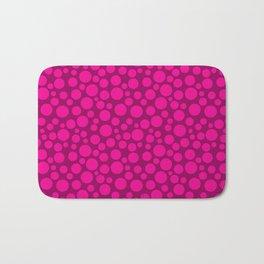Raspberry pink polka dots . Bath Mat