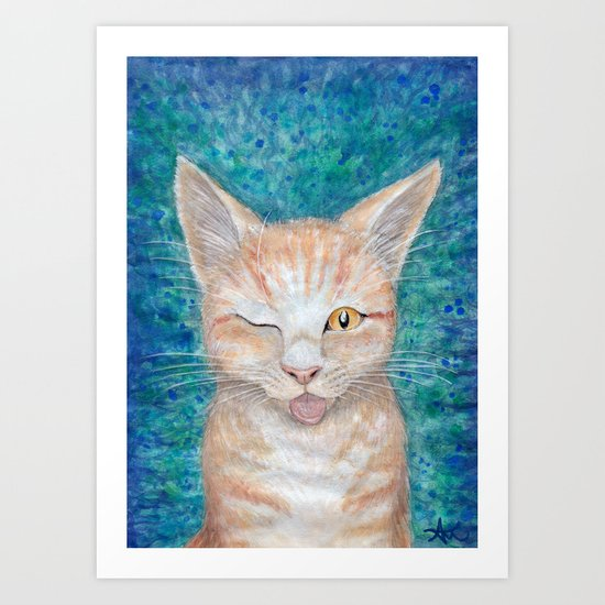 ";P ~ ""Seb the Groovy Cat"" by Amber Marine ~ Watercolor & Acrylic Painting, (c) 2016 Art Print"