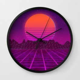 Welcome to the 80's! A synthwave styled artwork Wall Clock
