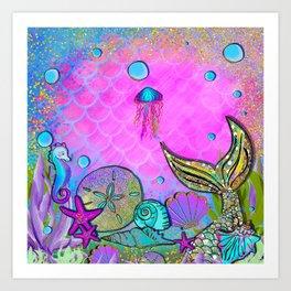 Pink Sparkly Sea Art Print
