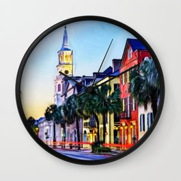 French Quarter at Dawn, Charleston, South Carolina Portrait Wall Clock