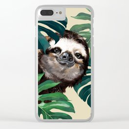 Sneaky Sloth with Monstera Clear iPhone Case