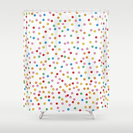 Rainbow Gumballs White Shower Curtain
