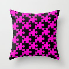 Checkerboard Puzzle Pieces  |  Pink & Black Throw Pillow