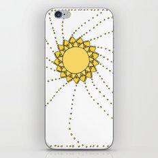 Celestial Swirling Sun Boho Mandala Hand-drawn Illustration on White iPhone Skin
