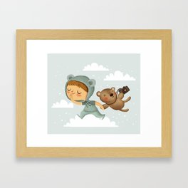 Little boy in blue Framed Art Print